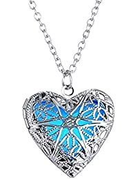 Peora Glow-in-The-Dark Heart of Atlantis Steampunk Style 925 Silver Plated Pendant Necklace for Girls and Women