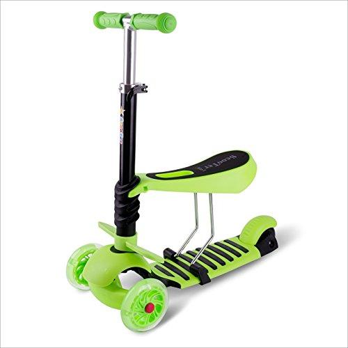 BAYTTER® 3 in 1 Mini mitwachsender Kinderroller Laufrad Dreirad Kinderscooter zum Laufenlernen LED Räder Scooter aus Aluminiumlegierung für Kinder von 2-5 Jahren in drei Höhen verstellbar (Grün)