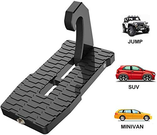 governingsoldiers Vehicle Rooftop Doorstep, Car Door Step Folding Ladder Foot Pegs with Safety Hammer Car Accessories Pedal Support to 880 Lb/400Kg,Gold,Gold,Black