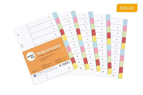 perfect line 5er Pack 10-teiliges DIN-A5 Register farbig (5x10), 16,3 x 21,5 cm, mit Deckblatt, Farb-Trenner aus Karton in 5 Farben, 160 g, perfekte Trenn-Blätter für die Ordner-Organisation im Büro