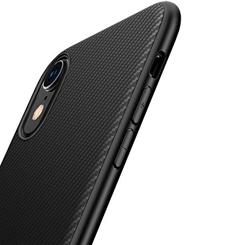 Yokase iPhone XR Hülle, Kohlefaser iPhone XR Handyhülle Flexible Weiche Silikon TPU Stoßdämpfend Rutschfest iPhone XR Hülle Silikon - 6.1 Zoll - Schwarz