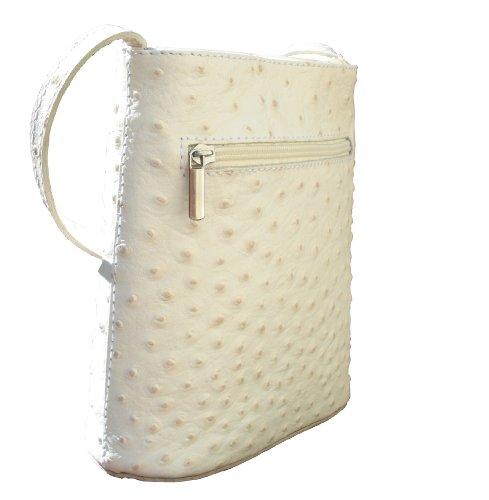 Effet d'autruche ou finition lisse petite Croix corps ou sac à main fait main en cuir italien.Comprend un sac de rangement protecteur marque. Autruche Blanc Cassé