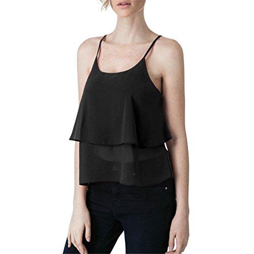 BURFLY Damen Weste Frauen Chiffon Weste Ausverkauf Cami Tank Top Mädchen Ärmellose Ernte Bluse Sommer Cool Casual Sleeveless T-Shirt (S, Schwarz) (Plaid Woven Shirt Schwarz)