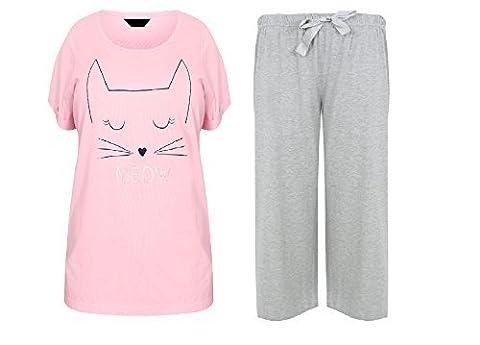 VACANCES VALISE DAMES grande taille 18-32 UK pyjamas ENSEMBLE ROSE GRIS MINOU CAT - Minou chat, EU 50/52