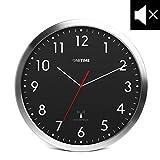 ONETIME MNU 3300 Schwarze Funkwanduhr aus Aluminium mit LAUTLOSEM Sweep Uhrwerk 12 Zoll (Ø) 30,5 cm