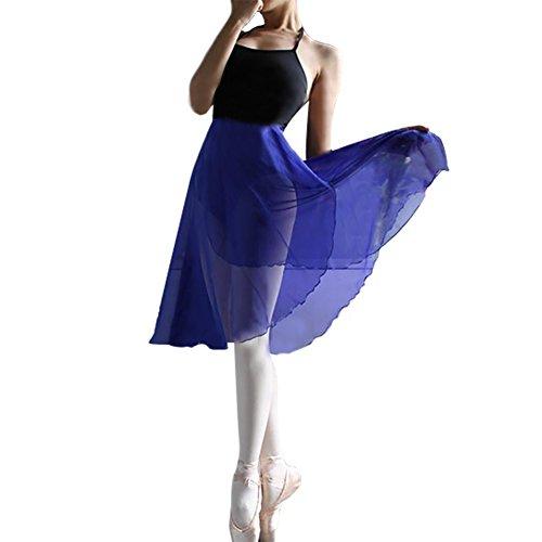 Gogo Team durchscheinender Wickelrock, Ballettrock,Tanzbekleidung für Damen, blau, KBDH-AY58610_ROYALBLUE-M