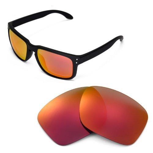 Walleva Ersatzgläser für Oakley Holbrook Sonnenbrille - Mehrfache Optionen (Feuerrot)