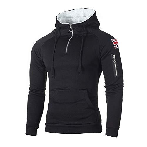 Morbuy Herren Kapuzenpullover Jogging Jacke Sweatshirts Herbst Winter Pullover Trainingsanzug Reißverschluss Sport Langarm Hoodie (XXXL, Schwarz)