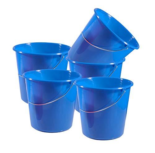 Gies 5 Stück 5 Liter Putzeimer mit Skala Eimer Kunststoff Wassereimer Wischeimer Scheuereimer
