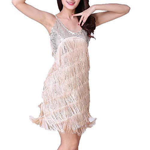 ZZBB Damen Flapper Kleid 1920Er Jahre Latin Dance Kleider Ärmellos Schlinge Quasten Lateinischer Tanz Ballsaal Halloween Kostüme,Beige,OneSize (1920er Jahren Flapper Dance Kostüm)