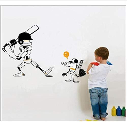 Cartoon Roboter Spielen Baseball Wandaufkleber Kinderzimmer Dekor Junge Zimmer Dekoration (Dekor Baseball Zimmer)