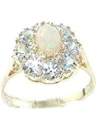 Luxury Ladies Solid Sterling Silver Natural Opal & Aquamarine Large Cluster Ring