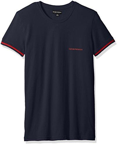 Emporio Armani Gestreift Logo Herren-t-Shirt Mit Rundhalsausschnitt, Dunkelgrau Navy