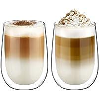 Glastal 350ml Vaso de Vidrio de Borosilicato de Aislamiento Térmico de Doble Pared para Café, Leche, Té y Más, Conjunto de 2