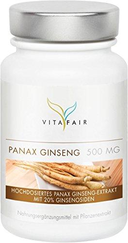 Panax Ginseng 490mg | Hochdosiert mit 20% Ginsenoside | Koreanischer Ginseng-Wurzel Extrakt | 120 Kapseln | Vegan | Ohne Magnesiumstearat | Made in Germany