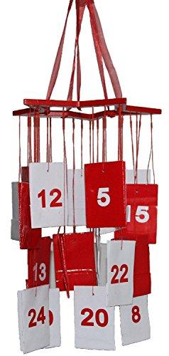 Adventskalender Mobile Holzstern mit 24 Geschenktüten rot weiss zum Befüllen (Füllen Stiefel)