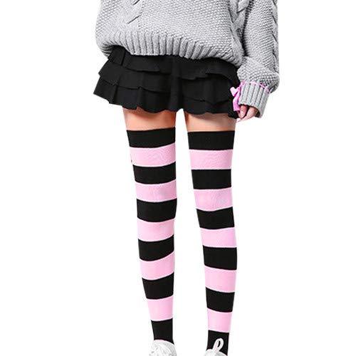 FIRSS Frauen Streifen Socken Elastisch Lange HoheSocken Hoch Über das Knie Over knee Anti Rutsch Atmungsaktiv Strümpfe ()