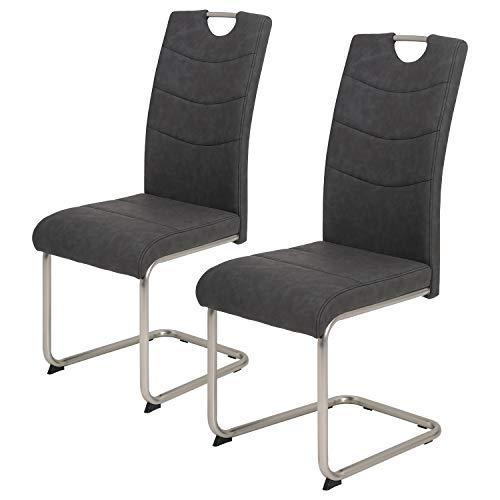 deine-tante-emma 2er Set 920348 ALMA anthrazit grau Schwingstuhl Küchenstuhl Esszimmerstuhl Sessel Gestell Edestahloptik gebürstet