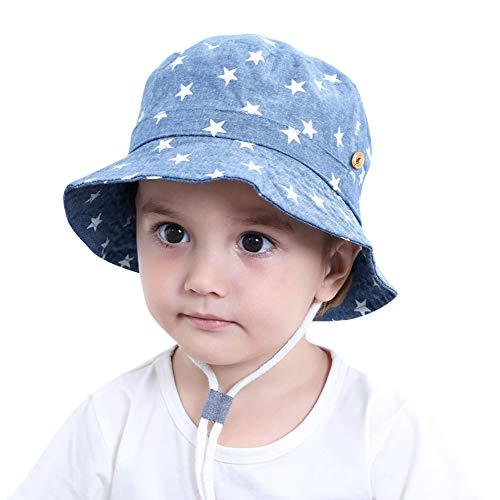 ANIMQUE Denim Hut Sterne für Baby Kinder UV Schutz Sonnenhut Baumwolle Eimerhut Fischerhut, Kopfumfang 52cm XL