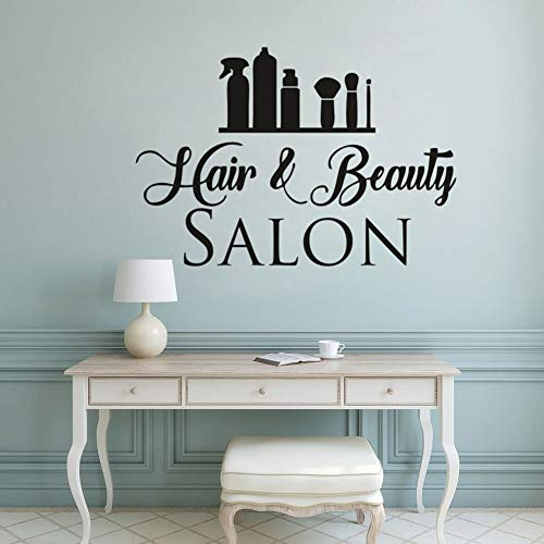 Haar- und Schönheitssalon Vinyl Wandaufkleber Haarstyling Wandtattoo Haarschnitt Kosmetische Werkzeuge Fensterkunst Poster Barbershop Art 42x29c