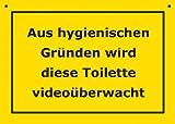 Postkarte Kunststoff +++ VERBOTENE SCHILDER von modern times +++ VIDEOÜBERWACHTE TOILETTE +++ ARTCONCEPT © VERBOTENE SCHILDER
