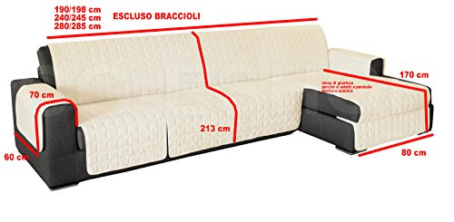 Copridivano angolare trapuntato divani con penisola tinta unita panna (190-195 cm)