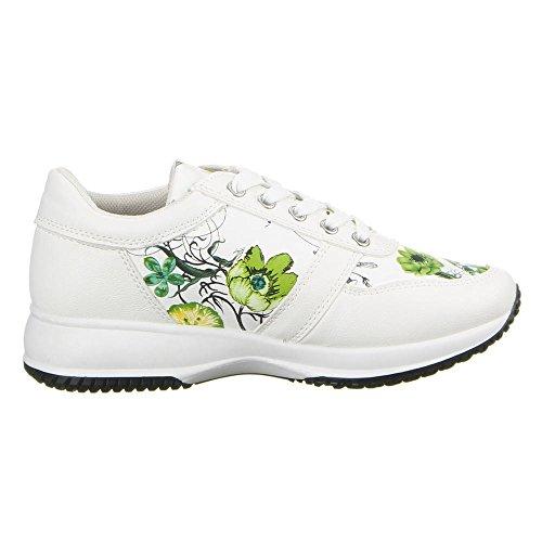 Damen Schuhe, 22-146, FREIZEITSCHUHE Weiß Grün