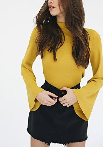 Camicie Donna Maniche Lunghe Eleganti Autunno Invernali Ragazze Camicia Basic Casual Maniche Tromba Collo Alto Blusa Top Puro Colore Moda Slim Fit Maglietta Gialli