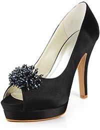 Chaussure de mariée satin noir perles