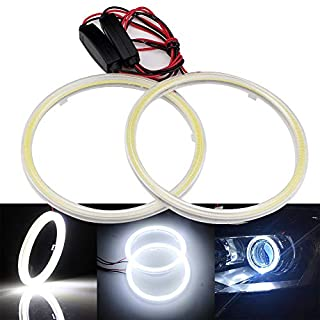 Grandview 1 Pair (2pcs) White 70MM 60SMD COB LED Headlight Angel Eyes Bulb Halo Ring Lamp Light DRL with the reflector cover constant current 9-30V