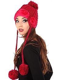 Young Fashion Fliegermütze Strickmütze mit Plüsch & PomPom