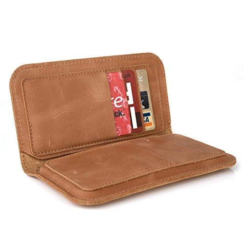 Housse étui portefeuille en cuir véritable pour ZTE Blade G Lux noir - noir Brun - peau