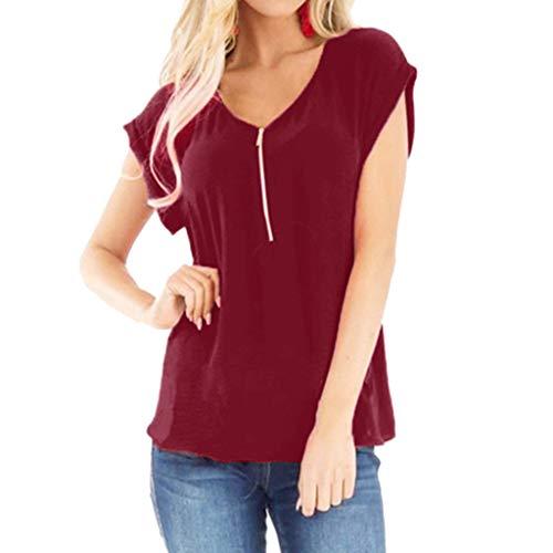 Zegeey Damen T-Shirt Oberteil V-Ausschnitt Kurzarm Einfarbig ReißVerschluss Sommer LäSsige Bluse Shirts Pullover Tunika Hemd (Wein,EU-36/CN-M)