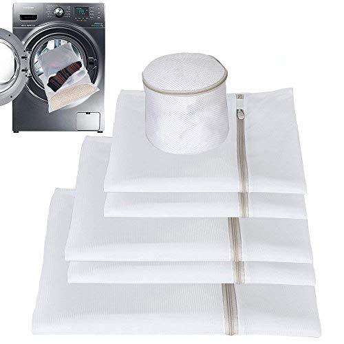 Febbya biancheria lavatrice, borse per bucato con zip in lavatrice che asciugatrice per intimo rondella, vestiti del bambino, biancheria intima, organizzatore viaggio set di 6
