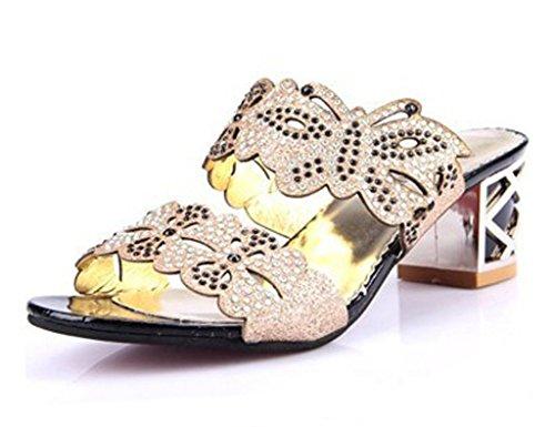 Minetom Damen Sommer Strass Butterfly High Heels Sandalen Pantoffeln Peep Toe B Schwarz