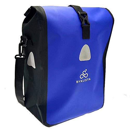 BYKLISTA Premium Fahrradtasche für Gepäckträger + Gratis eBook – hochwertige Gepäckträgertasche Hinterradtasche Tasche für Fahrrad – Wasserdicht mit Reflektoren & Schultergurt in Blau, 16 L