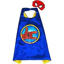 Spiderman Azul Capa y máscara para niños superhéroe - Superhéroes niños niñas niños Fancy disfraz de fiesta hasta Capes para 2 A 11 Años - satinado doble capa - King Mungo - kmsc030