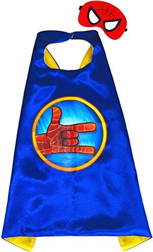 Spiderman Hand BLAU Umhänge und Maske - Superhelden Cape und Maske Superhelden-Kostüme für Kinder - Spielsachen für Jungen für Fasching oder Spider-man Motto-Partys - King Mungo - KMSC030 (Mantel Pj Set)