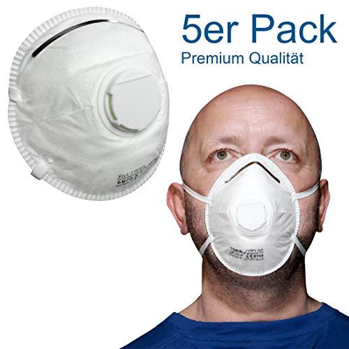 Atemschutz-Maske - Feinstaub-Maske, Staubschutz-Maske, Mundschutz-Maske gegen Feinstaub mit Nasenbügel | Staub-Maske für exzellenten Atemschutz mit Filterklasse FFP1 | *Premiumqualität*
