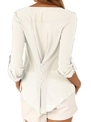 LaoZan Damen Casual V-Ausschnitt Mit Knopf Langarm Chiffon Leger Bluse Tops Oberteile Solid Shirt Weiß