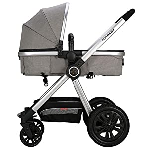 ZXYSR Modular Stroller, Baby Stroller, Converts To Double Stroller, 3 Modes, Durable Construction, Extra-Large Storage Basket, Compact Folding Design, 55-Lb Capacity, Gray   6