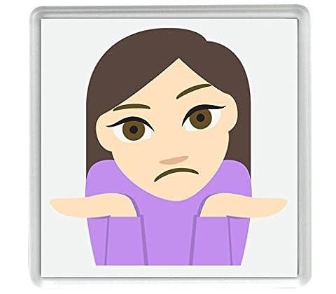 Hausser le ton 1'Emoji 58 mm x 58mm aimant frigo / Shrug Tone 1 Emoji 58mm x 58mm Fridge Magnet
