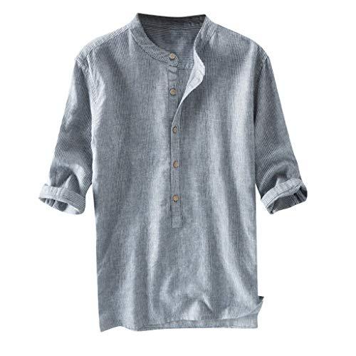 Crazboy Mode Herren Stripe Button Lässige Bluse Leinen und Baumwolle Langarm Hemd(XXX-Large,Blau)