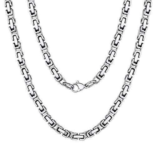ChainsPro Doppel Farben Herren Halskette Silberkette Byzantiner Königskette Halskette Kette Collier Edelstahl Silber/Gold/Schwarzkette, 4mm/6mm,45-75 cm
