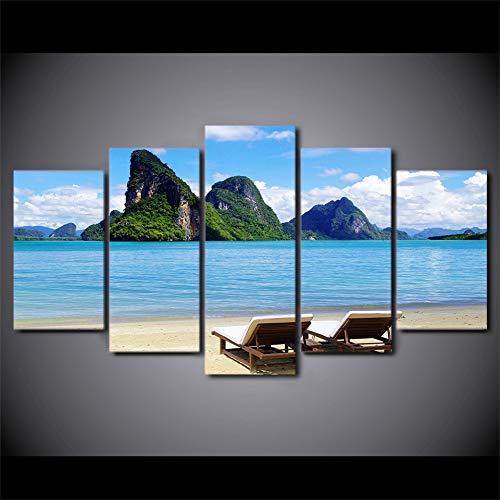 ACCEY Moderne Malerei auf Leinwand 5 Panel Blue Sky Tropical Sea Coast Landschaft Poster Frame Decor Wohnzimmer Wandkunst Bilder HD Pri, S2Frame
