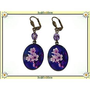 Ohrringe Sakura Harz Kirschblüten Kirschharz Japan lila rosa Messing Bronzeperlen personalisierte Geschenke…