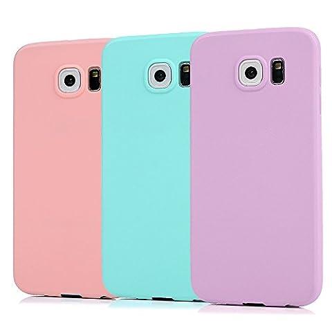 KASOS 3 Pcs Coque Sumsung Galaxy S6 Etui Housse Coque de Protection en TPU Silicone Style Simple Couleur Pure Légère Ultra-Mince Souple Violet / Vert / Rose