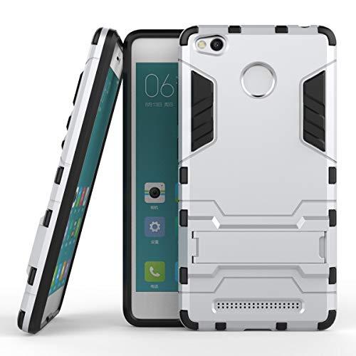 SHENNANJI pour Xiaomi Redmi 3S / Redmi 3 Pro 2 en 1 Armure de Fer Hybride à Double Couche de Style Robuste Defender PC + TPU Étui de Protection Rigide avec Support (Couleur : Argent)