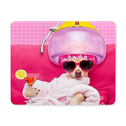 Lustiger Chihuahua-Hund mit der Sonnenbrille, die im Badekurort-Wellness-Mittelrechteck Sich entspannt, rutschfeste Gummilaptop Mousepad Mausunterlagen/Mäusematten-Fall-Abdeckung mit Entwürfen für B