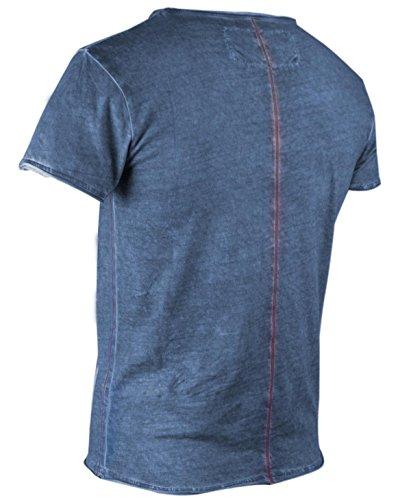 trueprodigy Casual Herren Marken T-Shirt mit Aufdruck, Oberteil cool und stylisch mit V-Ausschnitt (kurzarm & Slim Fit), Shirt für Männer bedruckt Farbe: Blau 1062107-4014 Ombre Blue